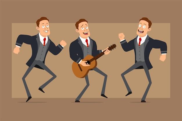 Personnage de dessin animé plat drôle homme d'affaires fort en manteau noir et cravate. garçon sautant, dansant et jouant du rock à la guitare.
