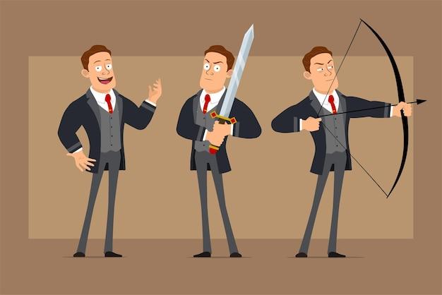 Personnage de dessin animé plat drôle homme d'affaires fort en manteau noir et cravate. garçon tenant une grande épée de chevalier et tir de l'arc avec une flèche.