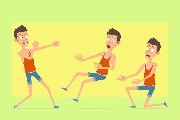 Personnage de dessin animé plat drôle d'homme en maillot et short. garçon qui se bat, debout sur le genou retombant inconscient.