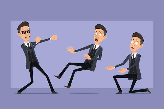 Personnage de dessin animé plat drôle mafia homme en manteau noir et lunettes de soleil. garçon qui se bat, retombe et se tient debout sur le genou. prêt pour l'animation. isolé sur fond violet. ensemble.