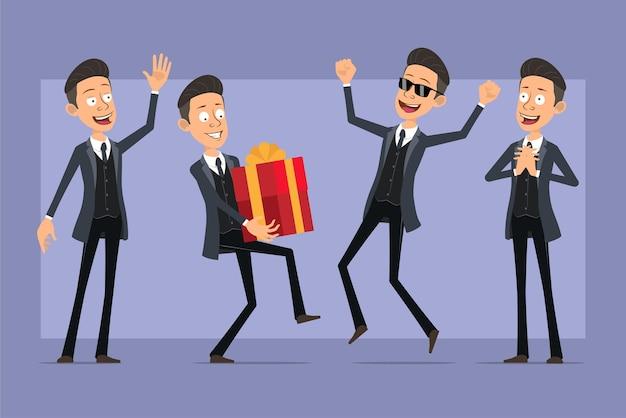 Personnage de dessin animé plat drôle mafia homme en manteau noir et lunettes de soleil. garçon sautant, portant un cadeau de vacances et montrant le geste bonjour. prêt pour l'animation. isolé sur fond violet. ensemble.