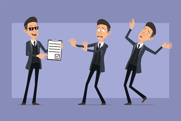Personnage de dessin animé plat drôle mafia homme en manteau noir et lunettes de soleil. garçon tenant pour faire la liste et tombant inconscient. prêt pour l'animation. isolé sur fond violet. ensemble.
