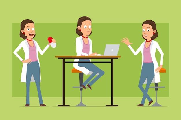 Personnage de dessin animé plat drôle médecin femme en uniforme blanc. fille tenant grosse pilule et travaillant sur ordinateur portable. prêt pour l'animation. isolé sur fond vert. ensemble.