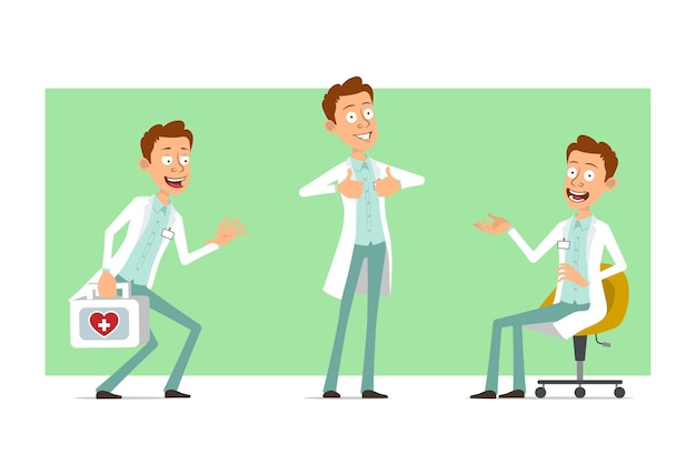 Personnage de dessin animé plat drôle médecin homme en uniforme blanc avec badge. garçon tenant une trousse de premiers soins médicaux et montrant les pouces vers le haut.