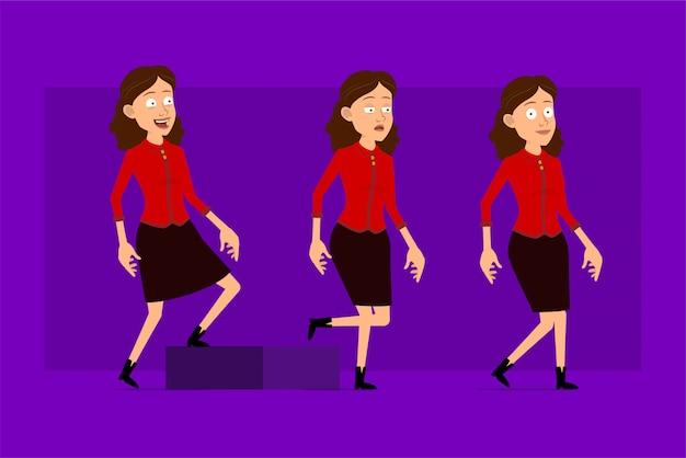 Personnage de dessin animé plat drôle mignon femme d'affaires en chemise rouge. prêt pour les animations. fille fatiguée réussie marchant vers son objectif. isolé sur fond violet. grand jeu d'icônes.