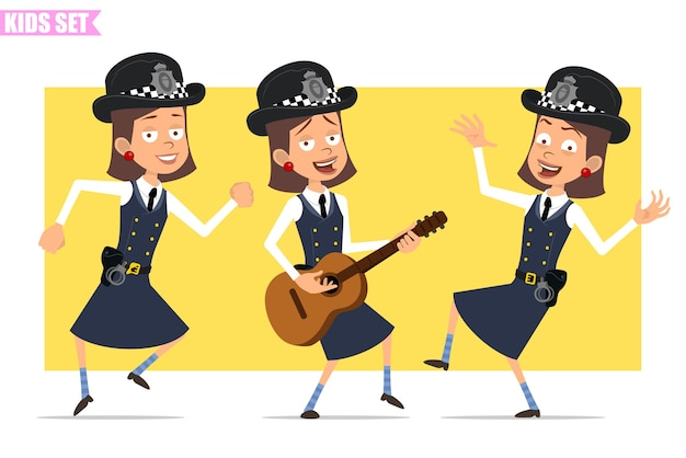 Personnage de dessin animé plat drôle policier britannique en chapeau de casque et uniforme. fille dansant, sautant, chantant et jouant à la guitare.