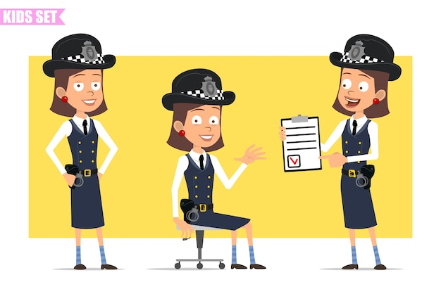 Personnage de dessin animé plat drôle policier britannique en chapeau de casque et uniforme. fille posant, assise et montrant à faire la liste avec marque.