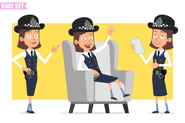Personnage de dessin animé plat drôle policier britannique en chapeau de casque et uniforme. fille posant, se reposant, montrant bien et signe de pouce en l'air.