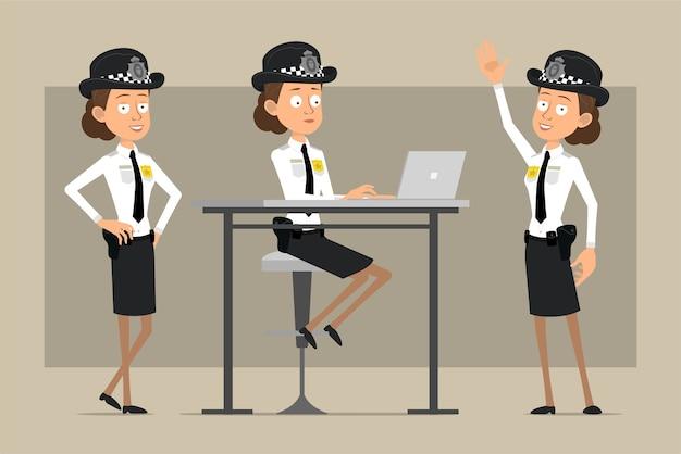 Personnage de dessin animé plat drôle policier britannique en chapeau noir et uniforme avec badge. fille posant et travaillant sur ordinateur portable. prêt pour l'animation. isolé sur fond gris. ensemble.