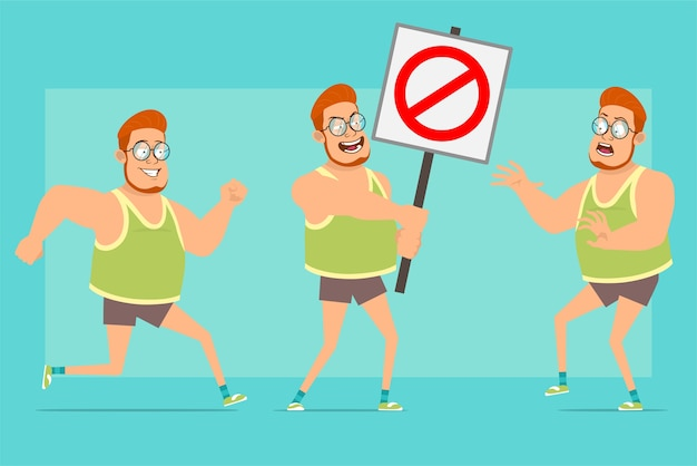 Personnage de dessin animé plat drôle rousse gros garçon dans des verres, maillot et short. garçon qui court et marche avec protestation sans signe d'entrée.