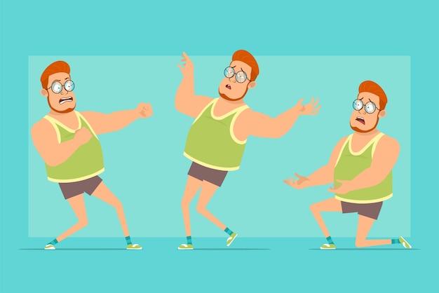 Personnage de dessin animé plat drôle rousse gros garçon dans des verres, maillot et short. garçon se battant, debout sur les genoux et retombant inconscient.