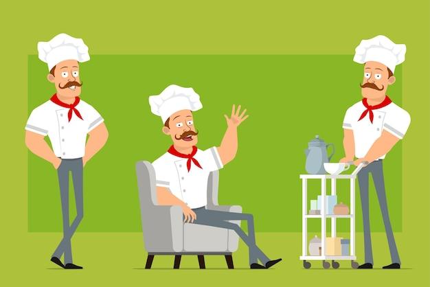 Personnage de dessin animé plat fort chef cuisinier homme en uniforme blanc et chapeau de boulanger. garçon reposant sur un canapé et marchant avec une table basse d'hôtel.