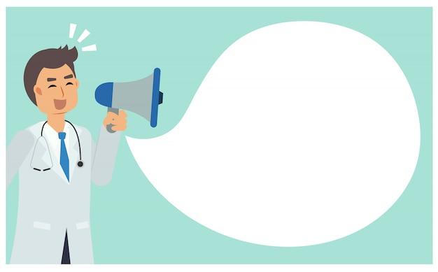 Personnage de dessin animé plat de médecin homme prendre microphone pour annoncer. docteur, tenue, mégaphone.