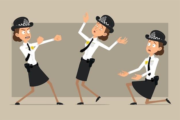 Personnage de dessin animé plat policier britannique en chapeau noir et uniforme avec badge. fille qui se bat, retombe et se tient debout sur le genou.