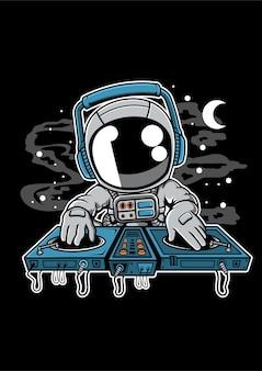 Personnage de dessin animé de plateau tournant astronaute