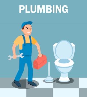 Personnage de dessin animé de plombier avec une clé