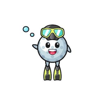 Le personnage de dessin animé de plongeur de golf, design mignon