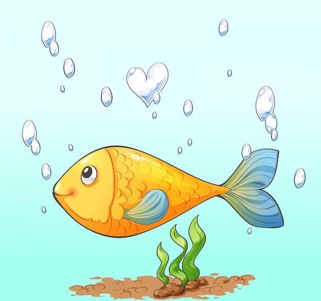 Personnage de dessin animé de poisson, bulle d'air et algue