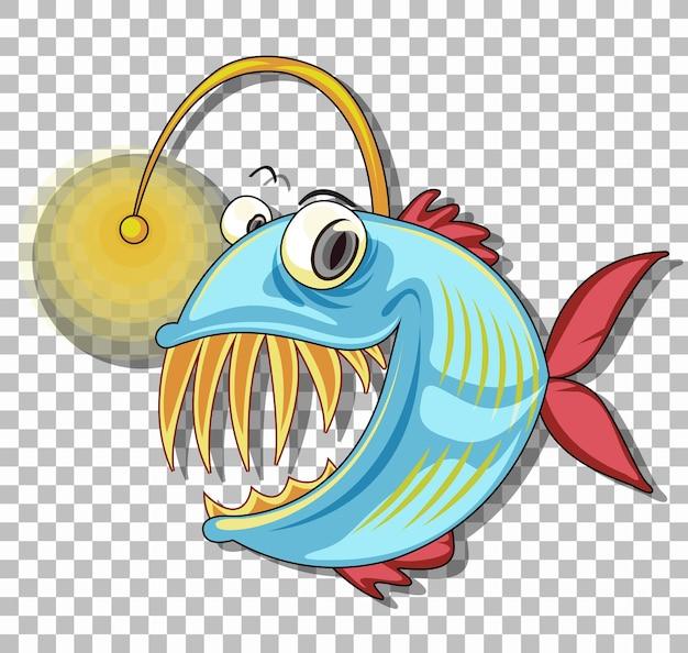 Personnage de dessin animé de poisson pêcheur isolé sur fond transparent