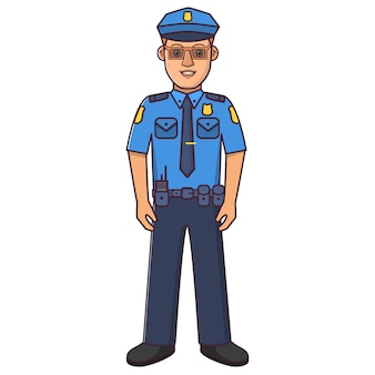 Personnage de dessin animé de policier.