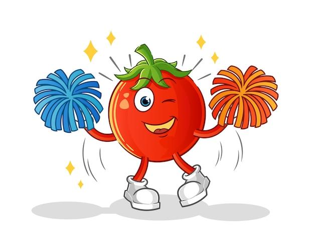 Personnage de dessin animé de pom-pom girl tomate