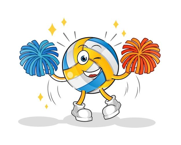 Personnage de dessin animé de pom-pom girl de volley-ball