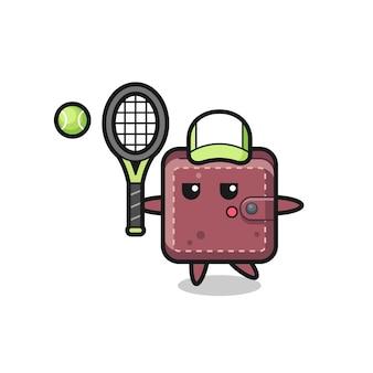 Personnage de dessin animé de portefeuille en cuir en tant que joueur de tennis