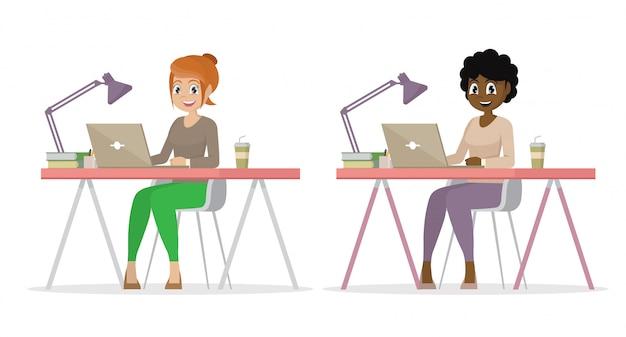 Personnage de dessin animé pose, set business femme au bureau travaille sur l'ordinateur portable.