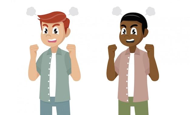 Personnage de dessin animé poses, homme en colère levant le poing et criant ou criant