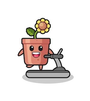 Personnage de dessin animé de pot de tournesol marchant sur le tapis roulant, conception de style mignon pour t-shirt, autocollant, élément de logo