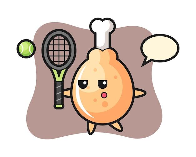 Personnage de dessin animé de poulet frit en tant que joueur de tennis