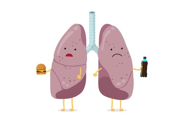 Le personnage de dessin animé de poumons malades malsains mange de la restauration rapide et boit du soda au système respiratoire humain