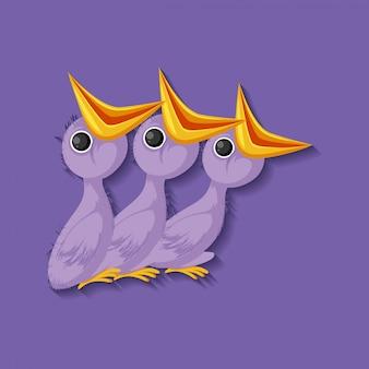 Personnage de dessin animé de poussin violet