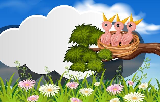 Personnage de dessin animé de poussins affamés