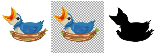 Personnage de dessin animé de poussins d'oiseaux