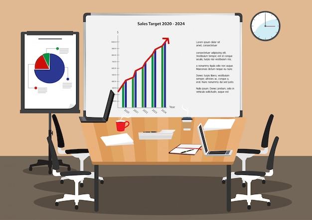 Personnage de dessin animé avec présentation infographique dans la salle de conférence ou la salle de réunion au bureau. icône plate