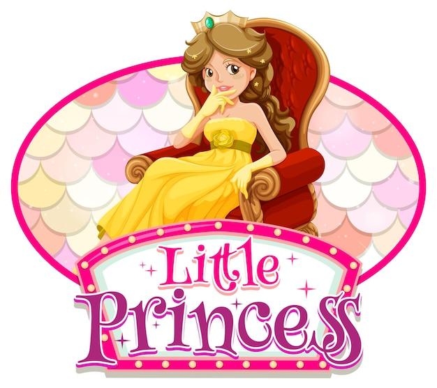Personnage de dessin animé princesse avec bannière de polices little princess