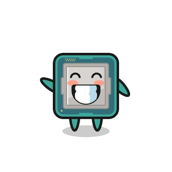 Personnage de dessin animé de processeur faisant un geste de la main d'onde, conception de style mignon pour t-shirt, autocollant, élément de logo