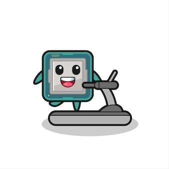 Personnage de dessin animé de processeur marchant sur le tapis roulant, conception de style mignon pour t-shirt, autocollant, élément de logo