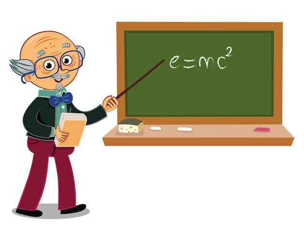 Personnage de dessin animé de professeur