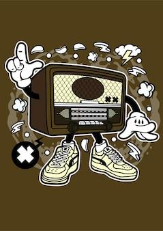 Personnage de dessin animé radio rétro