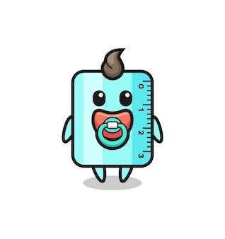 Personnage de dessin animé de règle de bébé avec tétine, design de style mignon pour t-shirt, autocollant, élément de logo