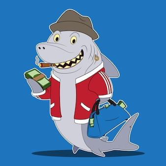 Personnage de dessin animé de requin de prêt