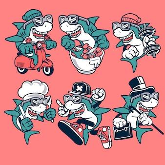 Personnage de dessin animé de requin