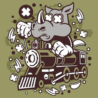 Personnage de dessin animé de rhinocéros