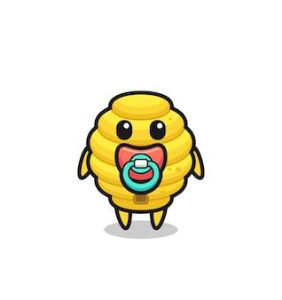 Personnage de dessin animé de ruche d'abeille de bébé avec la tétine, conception mignonne