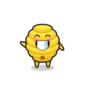 Personnage de dessin animé de ruche d'abeille faisant le geste de la main d'onde, design mignon