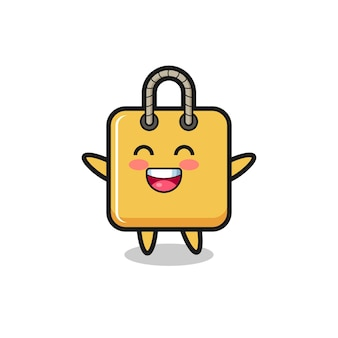 Personnage de dessin animé de sac à provisions pour bébé heureux, design de style mignon pour t-shirt, autocollant, élément de logo