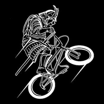 Personnage de dessin animé samurai bicycle rider