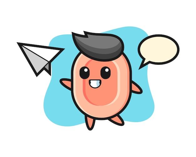 Personnage de dessin animé de savon jetant un avion en papier, style mignon pour t-shirt, autocollant, élément de logo